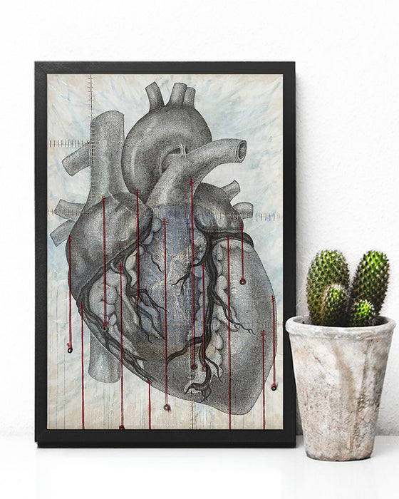 Heart Anatomy Strings Cardiologist Vertical Canvas And Poster | Wall Decor Visual Art