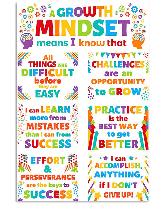 Growth Mindset Colorful Teacher Vertical Canvas And Poster | Wall Decor Visual Art