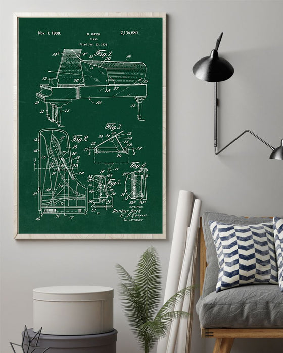 Piano Invention Vertical Canvas And Poster | Wall Decor Visual Art