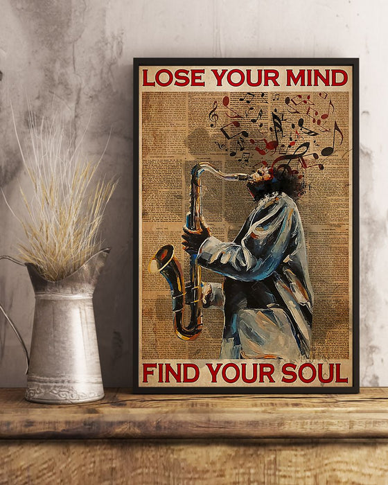 Saxophone Lose Your Mind Find Your Soul Vertical Canvas And Poster | Wall Decor Visual Art