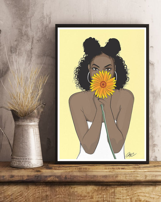 African - Black Art - Black Girl With Sunflower Vertical Canvas And Poster | Wall Decor Visual Art