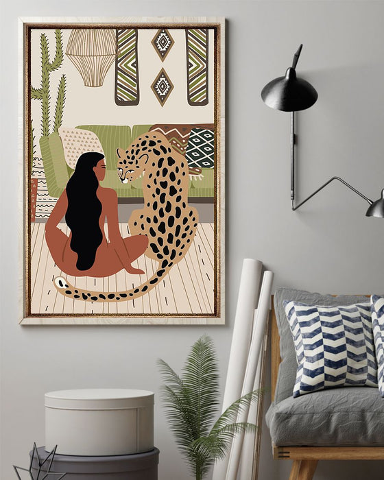 African - Black Art - Black Girl And Her Leopard Vertical Canvas And Poster | Wall Decor Visual Art