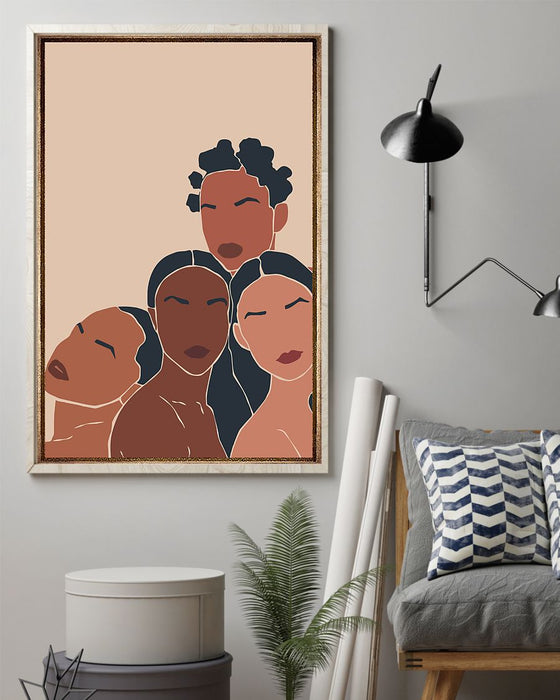 African - Black Art - Black Sisterhood 4 Vertical Canvas And Poster | Wall Decor Visual Art