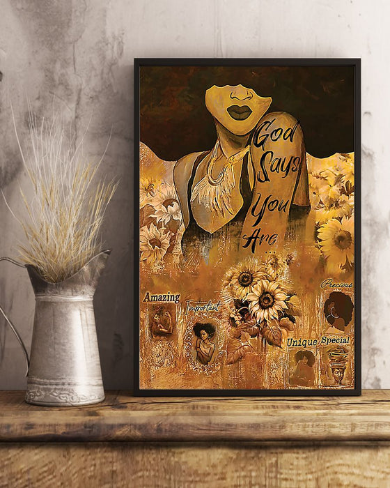 African - Black Art - God Says You Are Amazing Vertical Canvas And Poster | Wall Decor Visual Art