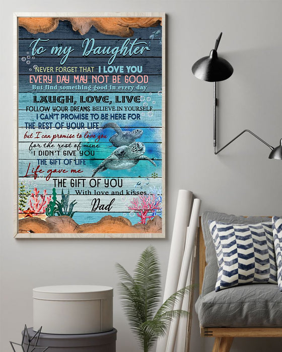 The Gift Of Life - Dad To Daughter Vertical Canvas And Poster | Wall Decor Visual Art
