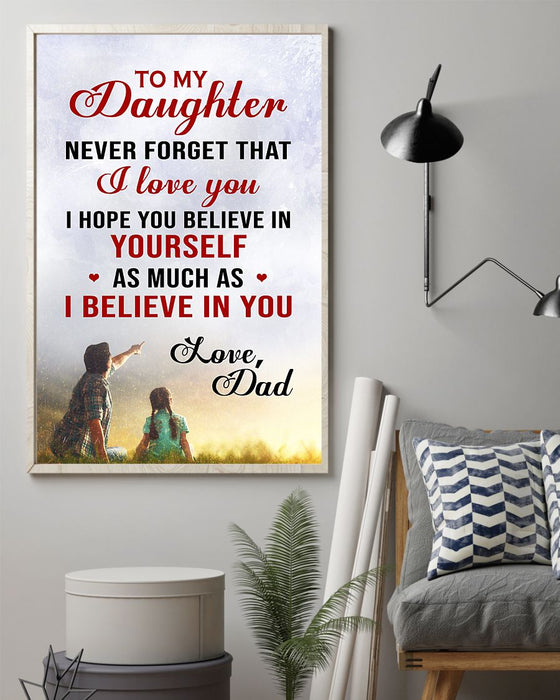 Daughter-Dad-Believe-Ngvt Vertical Canvas And Poster | Wall Decor Visual Art