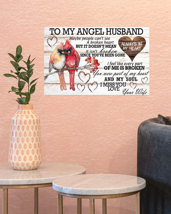 Memorial Gift To Heaven - To My Angel Husband Horizontal Canvas And Poster | Wall Decor Visual Art