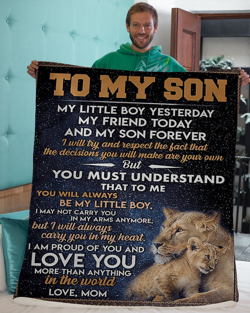 To My Son Forever Blanket Lion Fleece Blanket