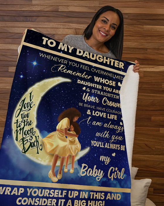 Moon And Back To My Daughter Whenever U Feel - Mom Sherpa Fleece Blanket