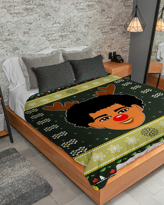 Black Boy Christmas Ugly 3D Sherpa Fleece Blanket