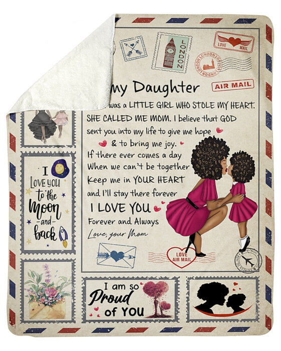 Little Girl Stole My Heart-Lady Mom To Daughter Sherpa Fleece Blanket
