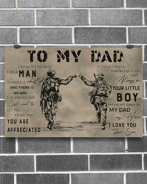 Professions Poster - Veteran To My Dad Horizontal Canvas And Poster | Wall Decor Visual Art