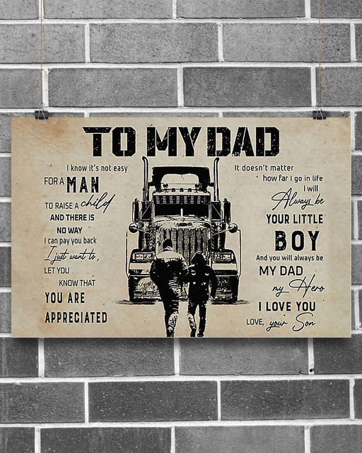 Professions Poster - Truck Driver's Son To My Dad Horizontal Canvas And Poster | Wall Decor Visual Art