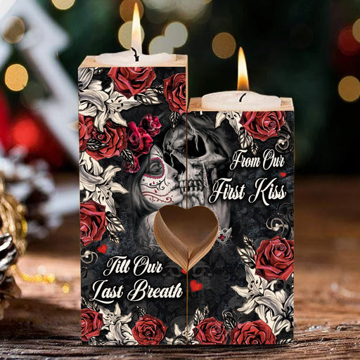 Skull From Our First Kiss Till Our Last Breath Heart Candle Holder Valentine Gift Fou Couple, Anniversary Gift For Couple 1611892584705.jpg