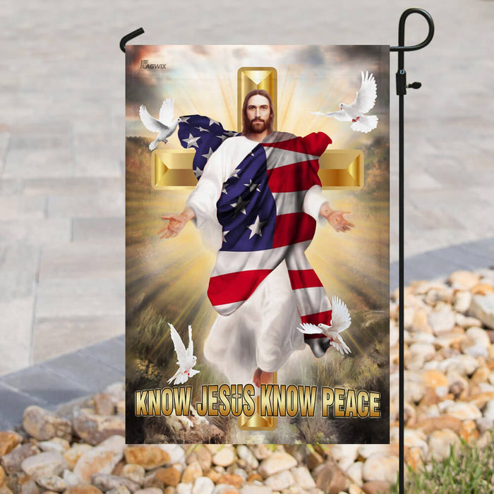 Know Jesus Know Peace Christian Cross Flag | Garden Flag | Double Sided House Flag