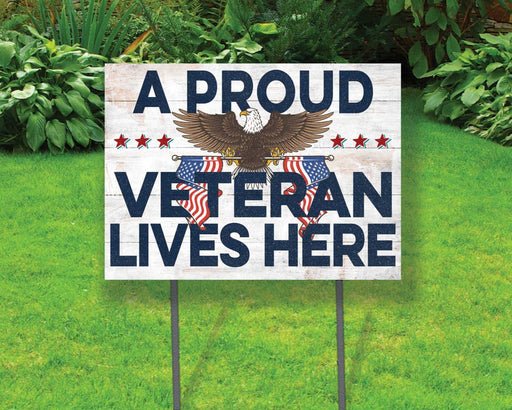 A Proud Veteran Lives Here Yard Sign | Yard Sign (24 x 18 inches) - GIFTCUSTOM