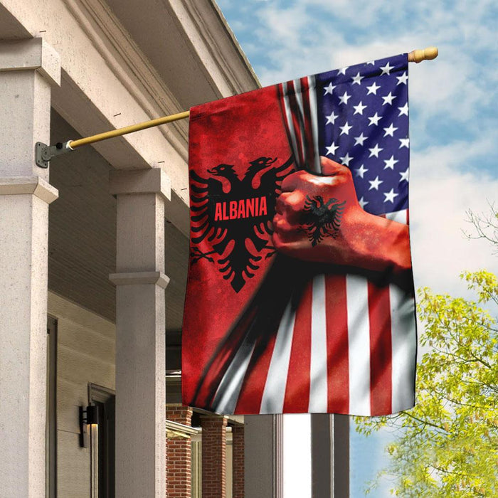 Albanian American Flag | Garden Flag | Double Sided House Flag - GIFTCUSTOM