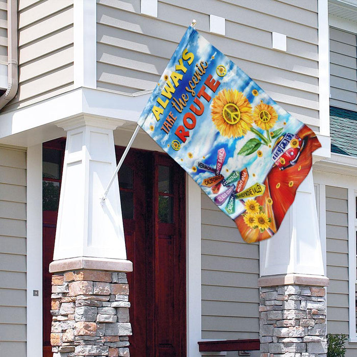 Always Take The Scenic Route Hippie Roadtrip Flag | Garden Flag | Double Sided House Flag - GIFTCUSTOM