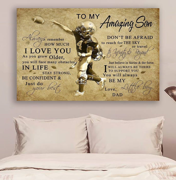 American football Canvas and Poster ��� Dad to Son ��� always remember wall decor visual art - GIFTCUSTOM