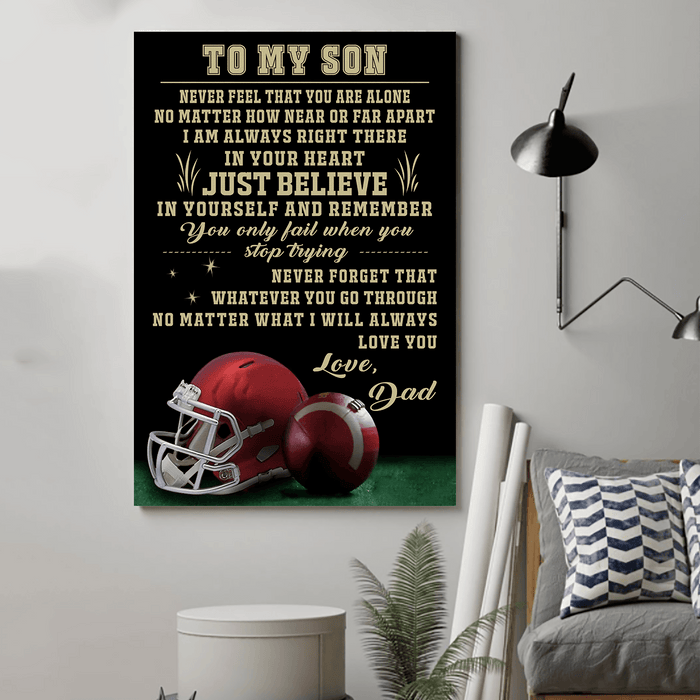 American football Canvas and Poster ��� Dad to Son ��� Never feel that wall decor visual art - GIFTCUSTOM