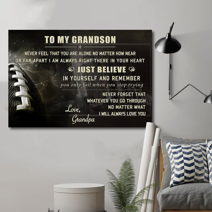 American football Canvas and Poster ��� grandpa grandson ��� just believe wall decor visual art - GIFTCUSTOM
