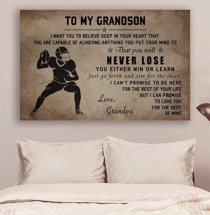 American football Canvas and Poster ��� Grandpa to grandson ��� Never lose wall decor visual art - GIFTCUSTOM