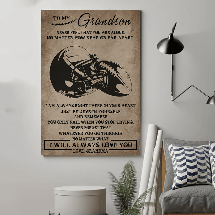 American football Canvas and Poster ��� grandson grandma never feel that wall decor visual art - GIFTCUSTOM