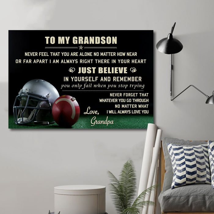 American football Canvas and Poster ��� grandson grandpa ��� just believe wall decor visual art - GIFTCUSTOM