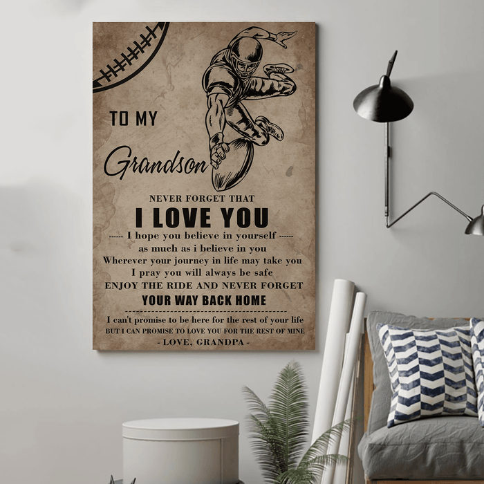 American football Canvas and Poster ��� grandson grandpa ��� never forget that wall decor visual art - GIFTCUSTOM