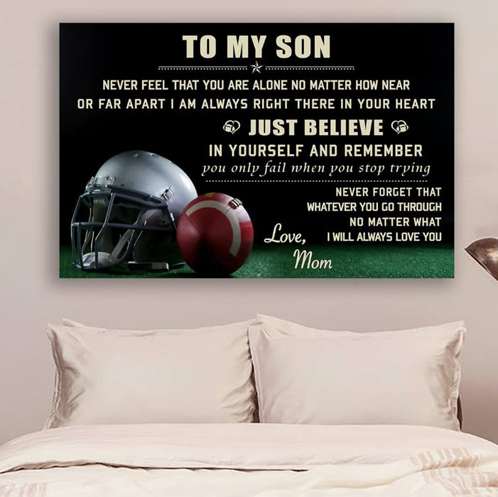 American football Canvas and Poster ��� son mom ��� just believe wall decor visual art - GIFTCUSTOM