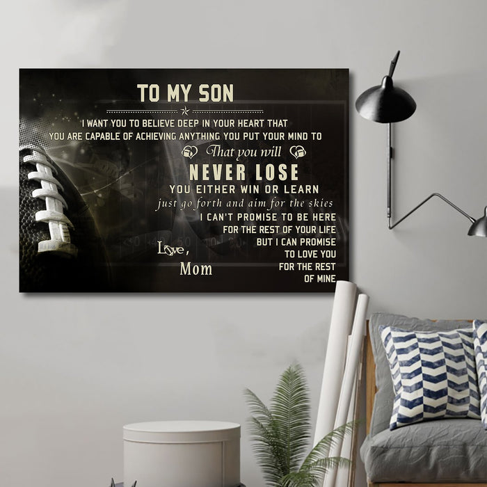 American football Canvas and Poster ��� son mom ��� never lose wall decor visual art - GIFTCUSTOM