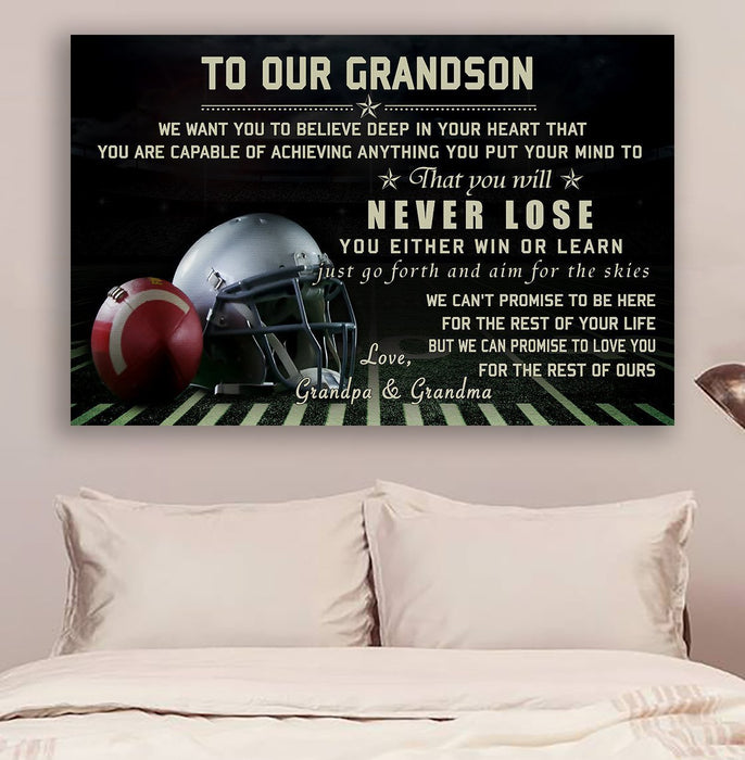 American football Canvas and Poster ��� to our grandson ��� never lose wall decor visual art - GIFTCUSTOM