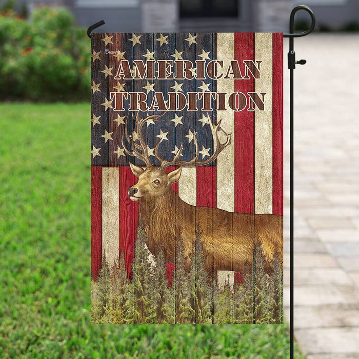 American Tradition Deer Flag | Garden Flag | Double Sided House Flag - GIFTCUSTOM