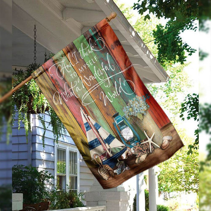 And I Think To Myself What A Wonderful World Hippie Flag | Garden Flag | Double Sided House Flag - GIFTCUSTOM