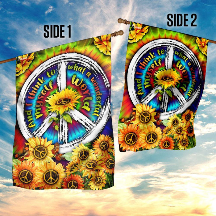 And I Think To Myself What A Wonderful World Hippie Tie Dye Sunflower Flag | Garden Flag | Double Sided House Flag - GIFTCUSTOM