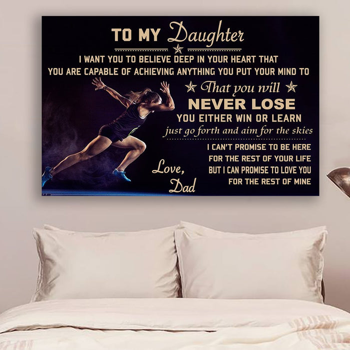 Athletics Canvas and Poster ��� Dad to Daughter ��� never lose wall decor visual art - GIFTCUSTOM