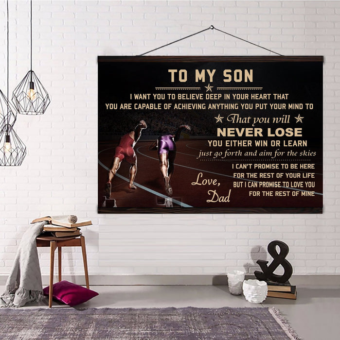 Athletics Hanging Canvas ��� Dad to Son ��� never lose wall decor visual art - GIFTCUSTOM