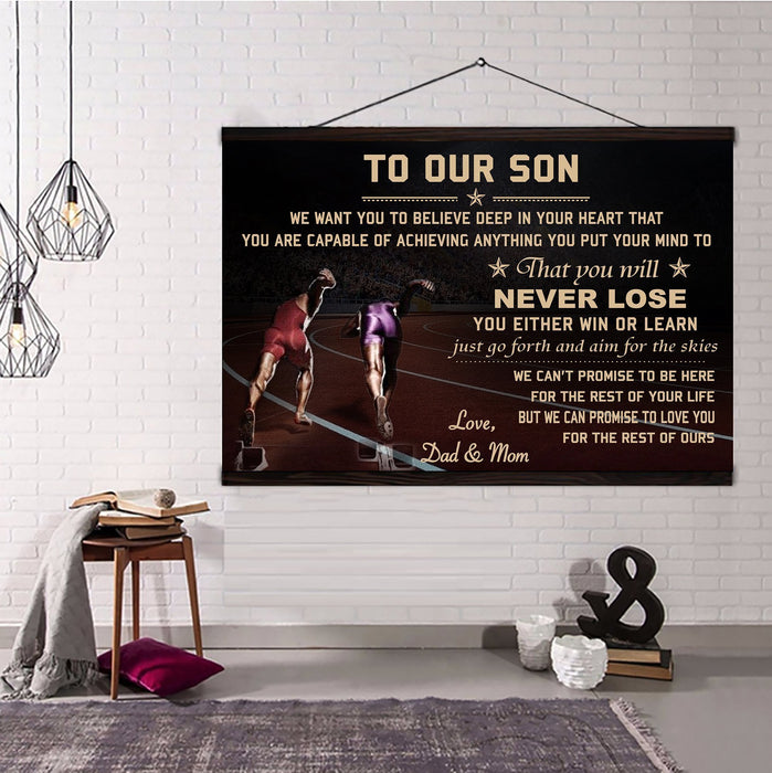 Athletics Hanging Canvas ��� Dad&Mom to Son ��� never lose wall decor visual art - GIFTCUSTOM