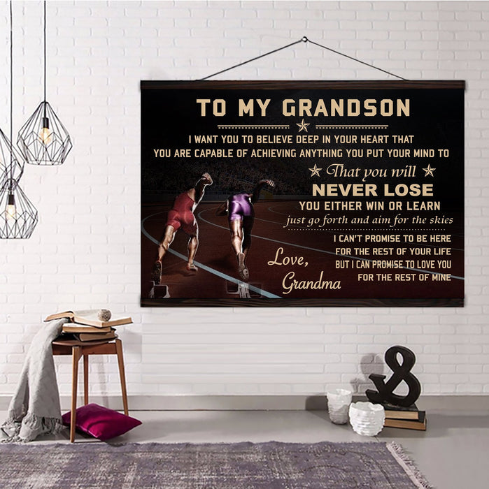 Athletics Hanging Canvas ��� Grandma to grandson ��� never lose wall decor visual art - GIFTCUSTOM