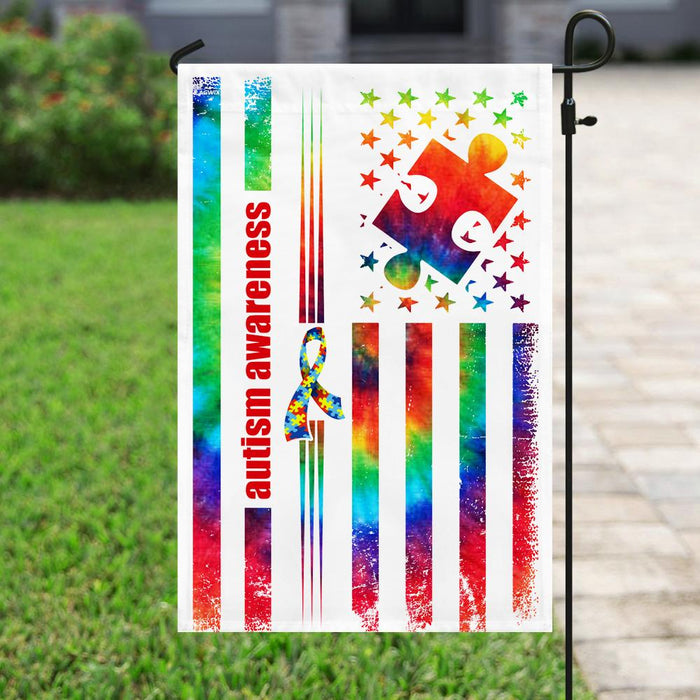 Autism Tie Dye Flag | Garden Flag | Double Sided House Flag - GIFTCUSTOM