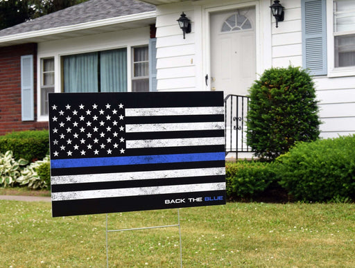 Back the Blue American Flag Yard Sign Thin Blue Line | Blue Lives Matter | Yard Sign (24 x 18 inches) - GIFTCUSTOM