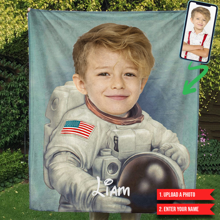 The Astronaut Character Customized Blanket Personalize Photo Upload Gift For Son Daughter Christmas Thanksgiving Birthday TP.FABLK.02 TP
