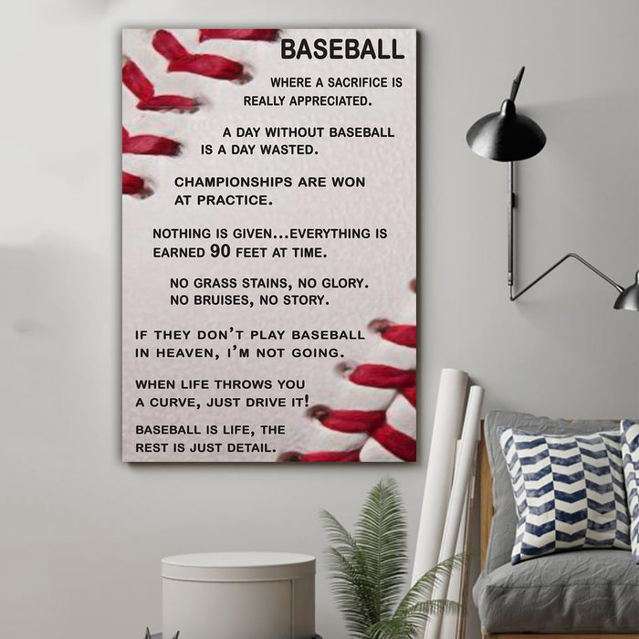 Baseball Canvas and Poster ��� A day without baseball vs1 wall decor visual art - GIFTCUSTOM