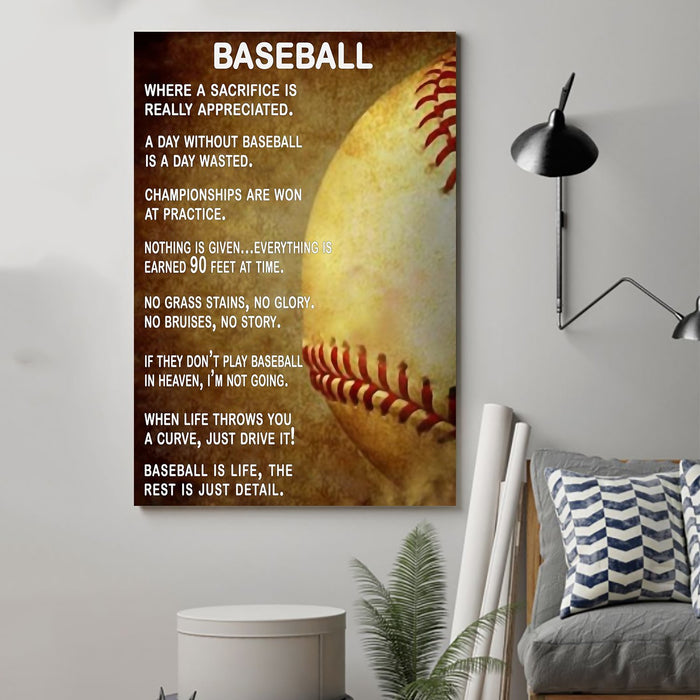 Baseball Canvas and Poster ��� A day without baseball vs2 wall decor visual art - GIFTCUSTOM