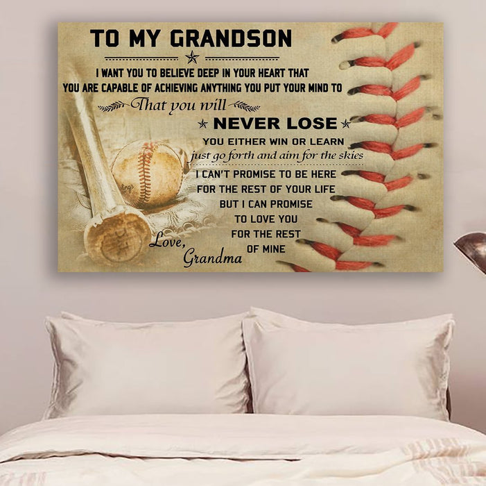 Baseball Canvas and Poster ��� Grandma to Grandson ��� Never lose wall decor visual art - GIFTCUSTOM