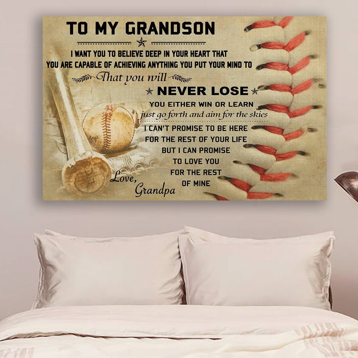 Baseball Canvas and Poster ��� Grandpa to Grandson ��� Never lose wall decor visual art - GIFTCUSTOM