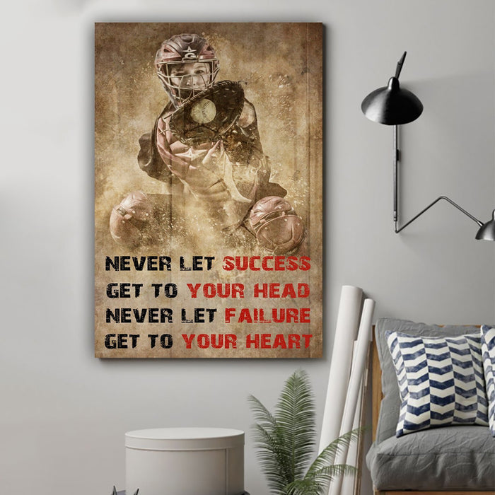 Baseball Canvas and Poster ��� Never let success wall decor visual art - GIFTCUSTOM