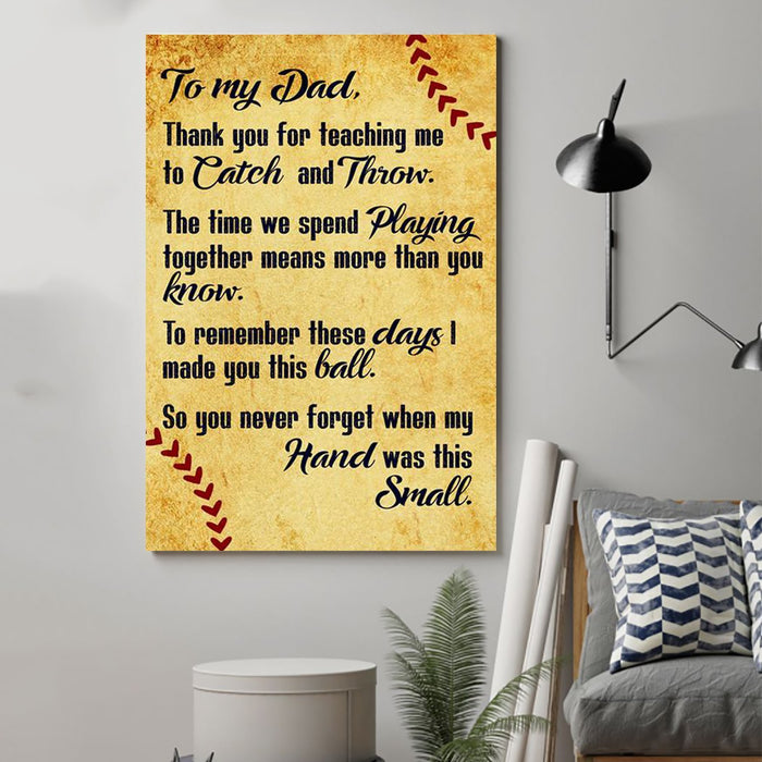 Baseball Canvas and Poster ��� to Dad ��� thank you for teaching me wall decor visual art - GIFTCUSTOM