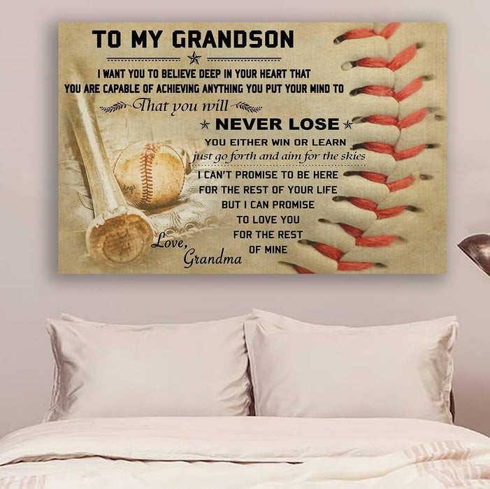 Baseball Canvas and Poster ��� to grandson ��� never lose 1 wall decor visual art - GIFTCUSTOM