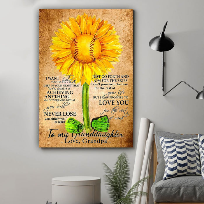Baseball Canvas and Poster ��� To my granddaughter ��� Never lose wall decor visual art - GIFTCUSTOM